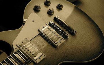 обои, фото, фон, гитара, музыка, сепия, струны, корпус, музыкальный инструмент