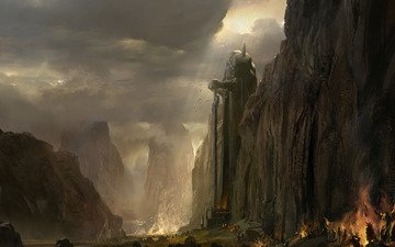 огни, горы, guild wars 2, статуя, пещера, колос, армия