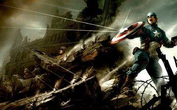 война, солдаты, пистолет, америка, пули, супергерой, рикошет, капитан, щит, комиксы