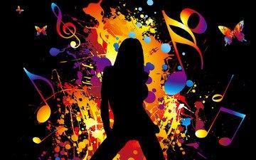 цвета, девушка, музыка, радуга, движение, танец, яркость, звук, расслабся, музыкa