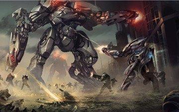 война, солдаты, роботы, лазеры, взрывы