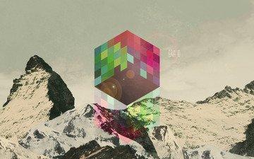 арт, абстракция, обои, цвета, фон, графика, куб