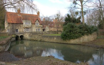 ручей, деревня, дом, англия