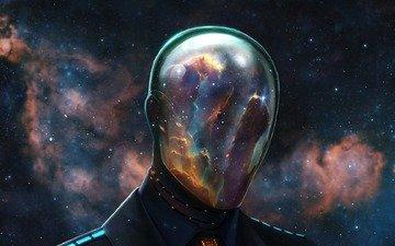 космос, маска, звезды, шлем, человек, туманность, скафандр