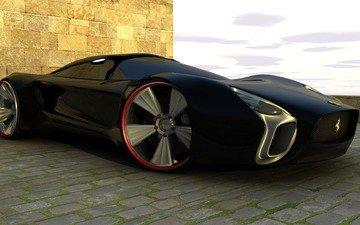 дизайн, колеса, цвет, черный, феррари, диски
