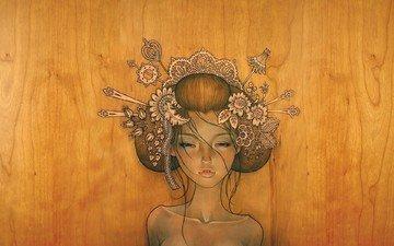 рисунок, дерево, девушка