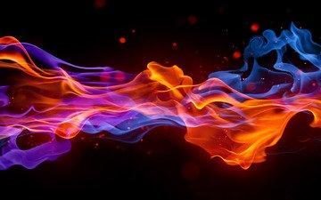 волны, дым, точки