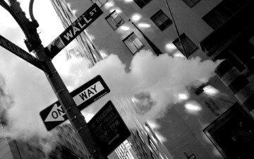 обои, фото, фон, города, город, чёрно-белое, улица, нью-йорк, картинка, снимок, манхеттен, уо__лл-стрит, уолл-стрит, нью - йорк