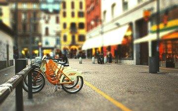 город, улица, велосипед, блюр, tilt-shift, стоянка велосипедов, размытый фон