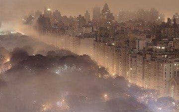 ночь, огни, туман, города, пейзажи, город, нью-йорк, здания, центральный парк, нью - йорк