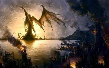 город, монстр, разрушения, пожар, бухта, говард филлипс лавкрафт, зов ктулху, прибрежный
