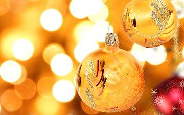 новый год, шары, игрушки, мишура