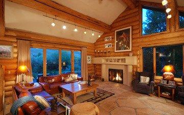 интерьер, окна, камин, диван, уют