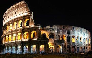 ночь, италия, колизей, рим