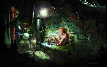 девушка, комната, роботы, игрушки, кровать, enslaved