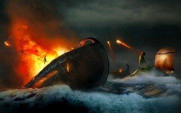 волны, море, корабли, война, огонь, атака, выстрелы