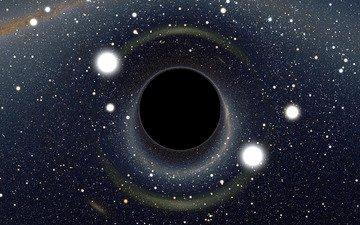 space, stars, black hole