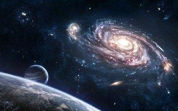 space, stars, planet, galaxy