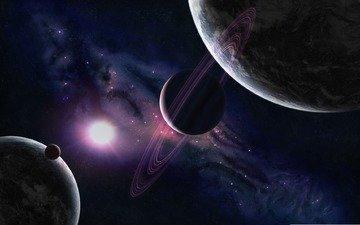 свет, космос, обои, звезды, свечение, планеты, картинка