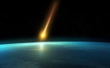 земля, космос, звезды, планета, вид, горизонт, планеты, звезда, комета, метеориты, кометы, просторы
