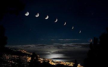 огни, город, луна, затмение