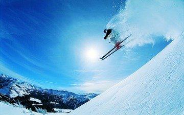 горы, солнце, снег, спуск, склон, скорость, лыжник, экстрим