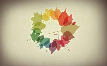 обои, листья, осень, минимализм, осенние обои