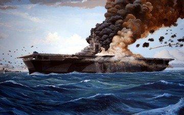 самолет, море, война, корабль, дым, пожар, авианосец