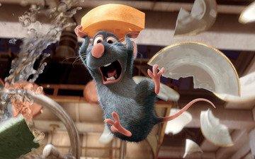 cartoon, mouse, ratatouille, broken plates