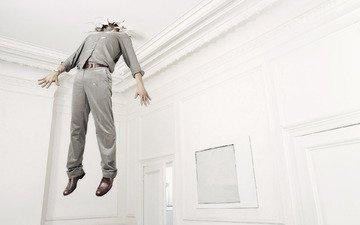 рендеринг, комната, мужик, потолок