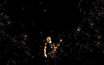 гитара, пятна, точки, музыкант, музыкa