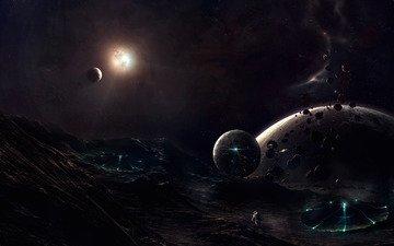 ночь, горы, солнце, луна, планеты