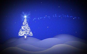 елка, обои, настроение, фон, синий, графика, серый, картинка, праздник, встреча нового года, ногвый год