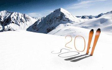 горы, снег, новый год, цифры, лыжи, 2011 год, год кролика, год кошки