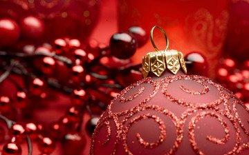 новый год, зима, шар, красный фон
