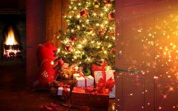 новый год, елка, зима, камин, огоньки, гирлянда