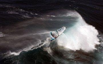 волны, океан, экстрим, стихия, сёрфер, парус