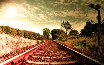 трава, железная дорога, рельсы, шпалы, камни, обои, фото, пейзажи, путь, креатив, дороги, железные дороги, пути