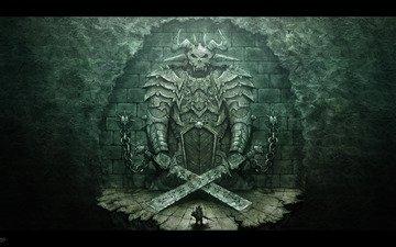 воин, ворота, демон, фотошоп, змейка
