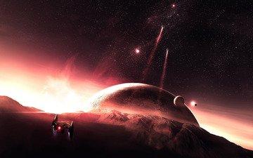 горы, планеты, космический, патруль