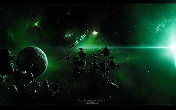 ships, planet, nebula, asteroids