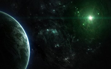 space, stars, planet