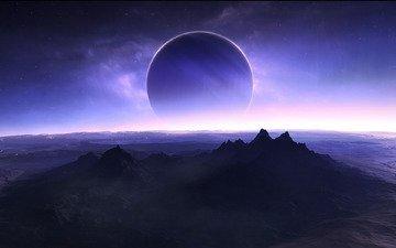 звезды, спутник, поверхность планеты