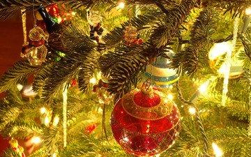 свет, елка, красный, игрушки, праздник, фонарики, стеклянный шар