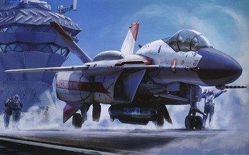 самолет, кабина, ракета, авианосец, пилоты, палуба