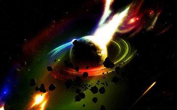 fire, meteorites, saturn
