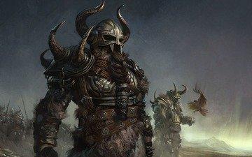 воин, шлем, коса, рога, борода