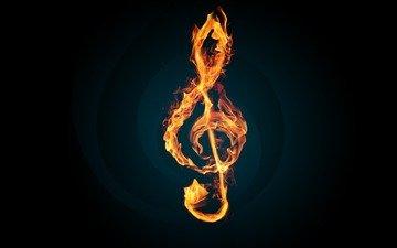 пламя, мелодия, огонь, ключ, скрипичный, музыкa