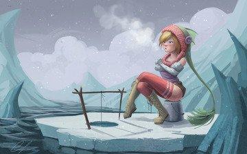 снег, девушка, льдины, рыбалка, snaketoast, замерзла, зимняя, не клюет