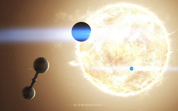 the sun, planet, star, space station